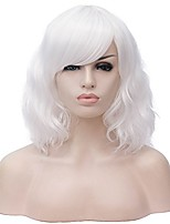 """cheap -15.74"""" women short wavy curly white bob wig 40cm cosplay halloween synthetic wigs with side bangs (14 colors available)"""