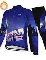 cheap -21Grams Men's Long Sleeve Cycling Jacket with Pants Winter Fleece Spandex Dark Blue Bike Fleece Lining Warm Sports Graphic Mountain Bike MTB Road Bike Cycling Clothing Apparel / Stretchy / Athleisure
