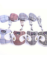 cheap -Dog Cat Harness Vest Adjustable Flexible Breathable Durable Outdoor Walking Plaid / Check Cotton Corgi Pug Bichon Frise Schnauzer Poodle Chihuahua Yellow Blue Pink Gray Coffee 1pc