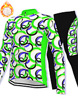 cheap -21Grams Men's Long Sleeve Cycling Jacket with Pants Winter Fleece Spandex Green Bike Fleece Lining Warm Sports Graphic Mountain Bike MTB Road Bike Cycling Clothing Apparel / Stretchy / Athleisure