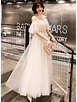 cheap -A-Line Minimalist Elegant Wedding Guest Prom Dress Illusion Neck Half Sleeve Floor Length Satin Tulle with Appliques 2020