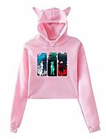 cheap -womens hoodie my hero academia cute cat ears cropped hoodie long sleeve short hoody for teenage girls l pink