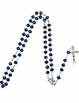 cheap -rosary blue bead virgin mary medal jesus crucifix cross necklace, rosaries beads catholic gifts
