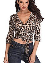 cheap -womens leopard print tops summer cross half sleeve deep v neck sexy t-shirt s