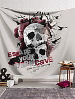 cheap -Wall Tapestry Art Decor Blanket Curtain Hanging Home Bedroom Living Room Decoration Polyester Fiber Novelty Still Life Skeleton Black and White Skull Dark Red Black Crow