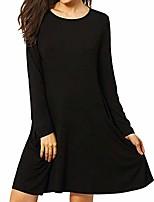 cheap -women's elegant solid long sleeve o-neck pockets swing dresses, smony fashion comfortable loose hem t-shirt tunic dress, uk plus size 8-18 (black, m=(uk:10))