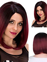 cheap -Synthetic Wig Straight Middle Part Wig Medium Length Wine Red Synthetic Hair Women's Soft Cool Middle Part Burgundy