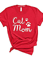cheap -women cat mom cute t-shirt - mother's day tee (3xlarge, red)