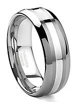 cheap -8mm tungsten carbide 14k white gold inlay wedding band ring sz 12.5