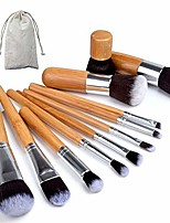 cheap -makeup brushes sets 11pcs professional bamboo makeup brushes set with bag cosmetics foundation make up brush tools kit for powder blusher eye shadow professional makeup brush (handle color : 11pcs)