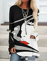 cheap -Women's Color Block Women's Hoodies Long Sleeve Plus Size Sweater Cardigans Crew Neck Spring Fall Black Blue Brown
