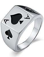 cheap -stainless steel for men wedding band poker ace rectangle silver ring size 8