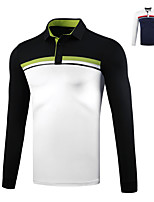 cheap -Men's Golf Polo Shirts Long Sleeve Breathable Quick Dry Soft Sports Outdoor Autumn / Fall Spring Winter White Dark Navy / Stretchy