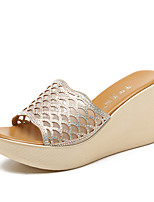 cheap -Women's Sandals Wedge Heel Peep Toe Classic Daily PU Rhinestone Solid Colored Black Gold