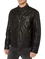 cheap -men's adison faux leather moto jacket, black, large