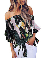 cheap -womens bohemain floral printed off the shoulder shirt bell sleeve tops ladies self tie summer blouse s green