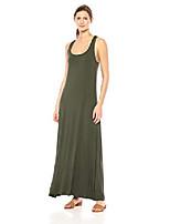 cheap -women's jersey sleeveless racerback maxi dress, forest green, xxl
