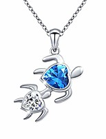 cheap -sterling silver mother father and daughter son couples turtle necklace cubic zirconia heart pendant,18 inches