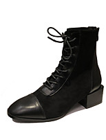 cheap -Women's Boots Chunky Heel Square Toe Booties Ankle Boots Casual Daily Walking Shoes Suede Lace-up Solid Colored Black / Booties / Ankle Boots
