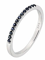 cheap -sterling silver genuine natural blue sapphire half eternity band ring