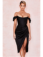 cheap -Women's Strap Dress Knee Length Dress - Sleeveless Solid Color Tie Dye Split Ruched Patchwork Spring Fall V Neck Hot Sexy Party Slim 2020 White Black Red S M L XL