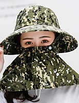 cheap -Women's Hiking Hat Outdoor Windproof Anti-Mosquito Dust Proof Comfortable Headsweat Printing Polyester / Cotton Blend Purple Yellow Camouflage for Beach Traveling