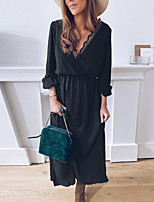 cheap -Women's Swing Dress Maxi long Dress - Long Sleeve Solid Color Fall Winter Casual Loose 2020 Black S M L XL