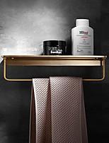 cheap -Towel Bar Brushed Brass Golden Bathroom Shelf Light Luxury Copper Bathroom Shelf with Towel Bar Storage Rack 1pc - Bathroom Wall Mounted