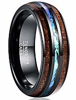 cheap -8mm hawaii koa wood and blue inlay tungsten carbide rings domed engagement bands size 9