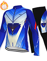 cheap -21Grams Men's Long Sleeve Cycling Jacket with Pants Winter Fleece Spandex Blue Bike Fleece Lining Warm Sports Graphic Mountain Bike MTB Road Bike Cycling Clothing Apparel / Stretchy / Athleisure