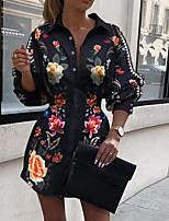 cheap -Women's Shirt Dress Short Mini Dress - Long Sleeve Floral Patchwork Print Summer Fall Shirt Collar Elegant Casual 2020 Black S M L XL XXL