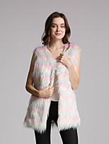cheap -Sleeveless Coats / Jackets Faux Fur Party / Evening / Office / Career Bolero With Color Block