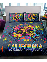 cheap -Skull Series Colorful Print 3-Piece Duvet Cover Set Hotel Bedding Sets Comforter Cover with Soft Lightweight Microfiber For Room Decoration(Include 1 Duvet Cover and 1or 2 Pillowcases)