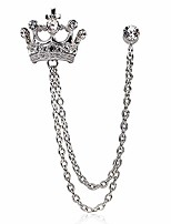 cheap -british style rhinestone crown chain brooch. retro crystal corsage pin, tassel chain suit jacket brooch pin for men husband gifts (silver)