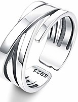cheap -925 sterling silver adjustable vintage ring for women men white gold plated wrap wide statement ring open stackable thumb punk rings (silver)