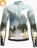 cheap -21Grams Men's Long Sleeve Cycling Jacket Winter Fleece Polyester Sky Blue Bike Jacket Top Mountain Bike MTB Road Bike Cycling Thermal Warm Fleece Lining Breathable Sports Clothing Apparel / Stretchy