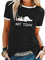 cheap -Women's T shirt Cartoon Letter Patchwork Print Round Neck Tops Basic Basic Top White Black Blue