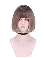 cheap -Synthetic Wig Curly Bob With Bangs Wig Short Pink Synthetic Hair 12 inch Women's Cool Color Gradient Fluffy Pink