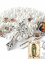 cheap -glass pearl beads our lady of guadalupe epoxy heart metal beads rosary necklace pack in velvet bag with pray card (white)