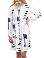 cheap -women elegant long sleeve color block pattern dresses with belt party dress casual blouse dress white s