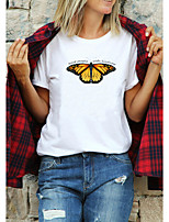cheap -Women's T-shirt Butterfly Graphic Prints Letter Print Round Neck Tops 100% Cotton Basic Basic Top White Purple Red