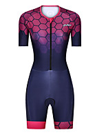 cheap -Men's Women's Short Sleeve Triathlon Tri Suit Polyester Red Bike Clothing Suit Breathable 3D Pad Quick Dry Reflective Strips Sweat-wicking Sports Graphic Mountain Bike MTB Road Bike Cycling Clothing