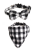 cheap -Dog Cat Collar Tie / Bow Tie Adjustable Retractable With Bell Durable Outdoor Walking Plaid / Check Classic Bowknot Nylon Baby Pet Small Dog White Red Blue Pink Orange 1pc