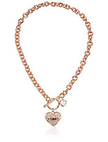 cheap -women's toggle logo charm necklace, rose gold, one size