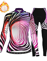cheap -21Grams Women's Long Sleeve Cycling Jersey with Tights Winter Fleece Polyester Red Bike Clothing Suit Fleece Lining Breathable 3D Pad Warm Quick Dry Sports Graphic Mountain Bike MTB Road Bike Cycling