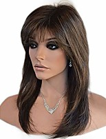 cheap -ombre black with brown wigs with hair bangs short wavy curly wig for women -natural looking and heat resistant full head hair replacement wig for daily wear or costume wig (22inches),brown