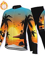 cheap -21Grams Men's Long Sleeve Cycling Jacket with Pants Winter Fleece Spandex Black / Yellow Bike Fleece Lining Warm Sports Graphic Mountain Bike MTB Road Bike Cycling Clothing Apparel / Stretchy