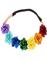 cheap -boho flower headband floral crowns girls hair wreath tiara hippie fairy cosplay (rainbow)