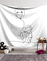 cheap -Valentine's Day Sketch Wall Tapestry Art Decor Blanket Curtain Hanging Home Bedroom Living Room Decoration Girl Balloon