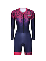 cheap -Men's Women's Long Sleeve Triathlon Tri Suit Polyester Red Bike Clothing Suit Breathable 3D Pad Quick Dry Reflective Strips Sweat-wicking Sports Graphic Mountain Bike MTB Road Bike Cycling Clothing